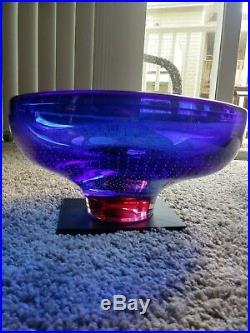 Zoom Cobalt Blue Pink Bottom LARGE BOWL Goran Warff 12 Kosta Boda 7059912 NEW