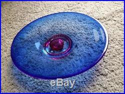 Zoom Cobalt Blue Pink Bottom LARGE Centerpiece Dish Goran Warff Kosta Boda NEW